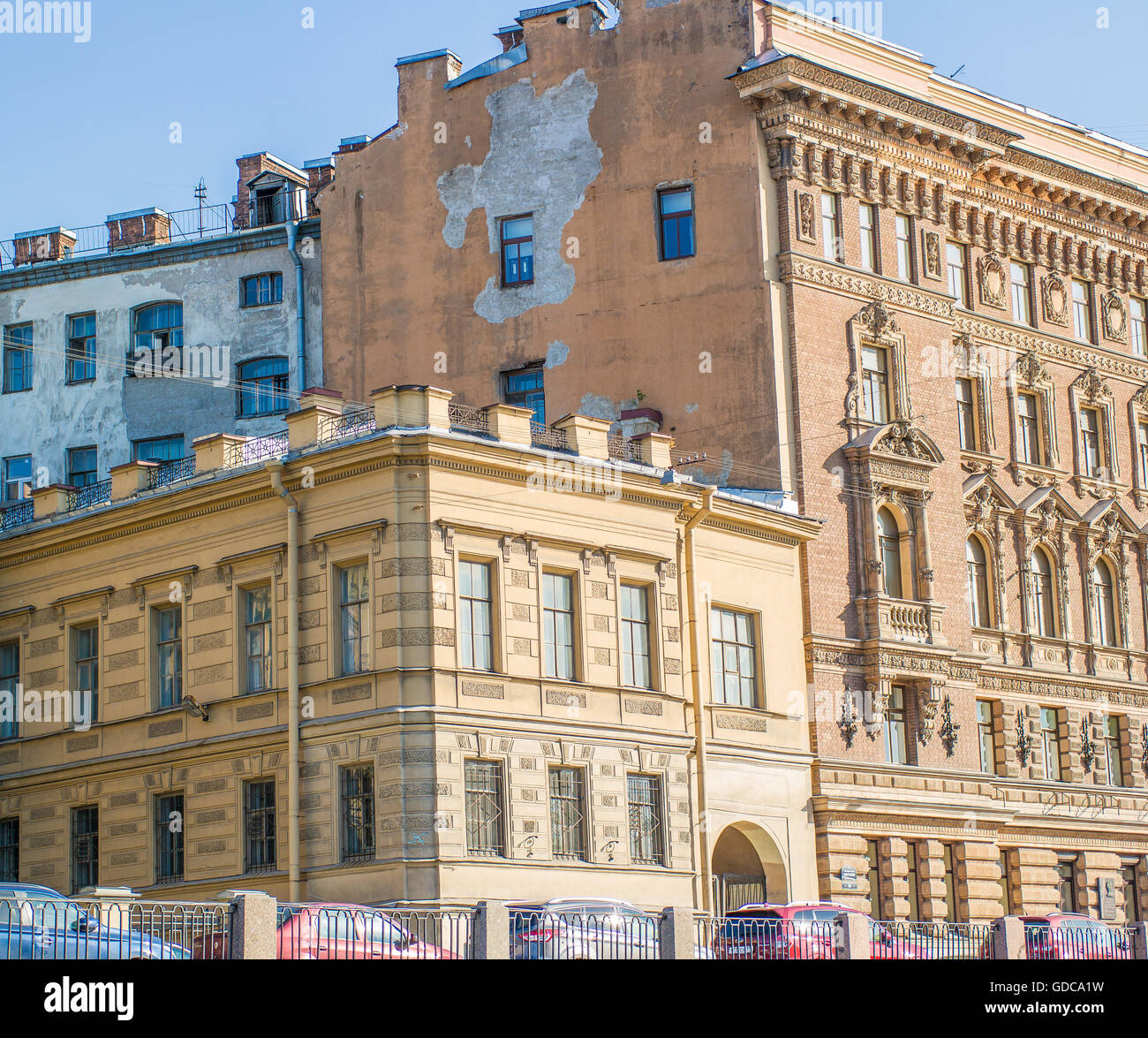 The end of the house on the waterfront in St. Petersburg Stock Photo