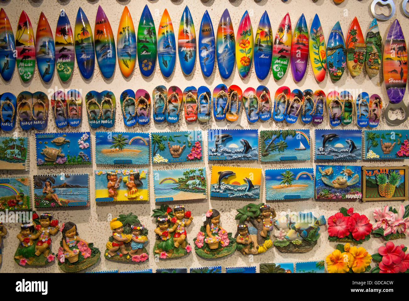 Maui,souvenirs,USA,Hawaii,America,surfboards,pictures,kitsch, - Stock Image