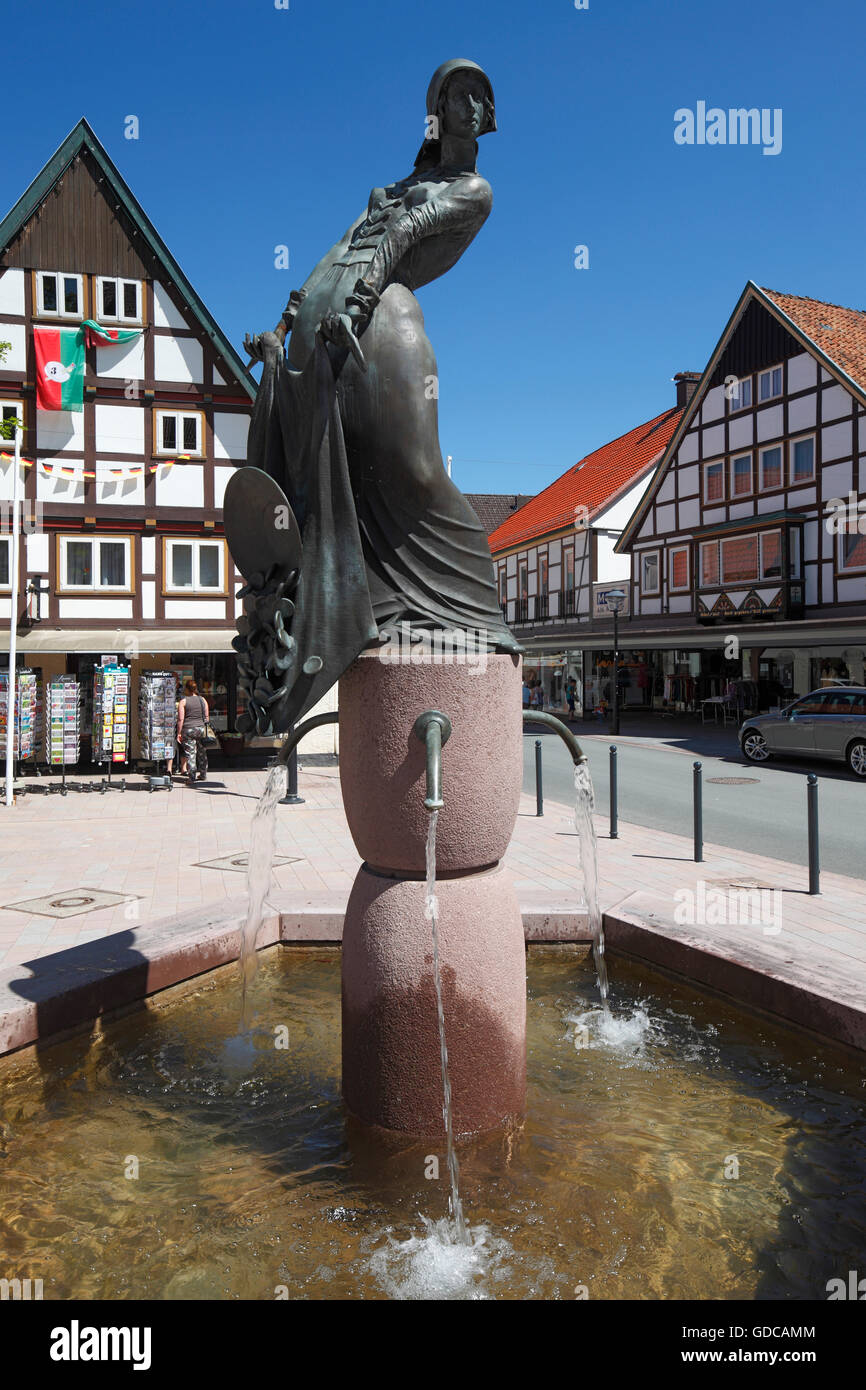 Alheyd wells at the market of Blomberg,Weser Bergland,North Rhine-Westphalia - Stock Image