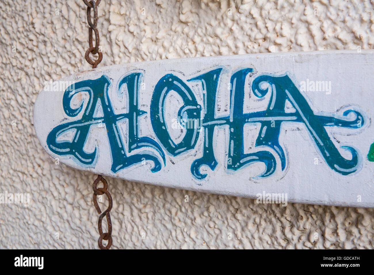 Maui,Aloha,board,USA,Hawaii,America,sign, - Stock Image