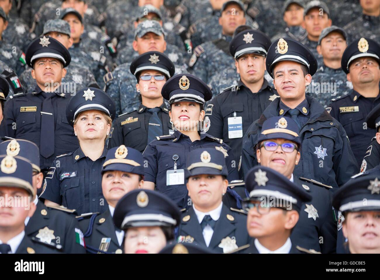 Mexican Federal Police officers during the 88th anniversary of the national police force attended by President Enrique - Stock Image