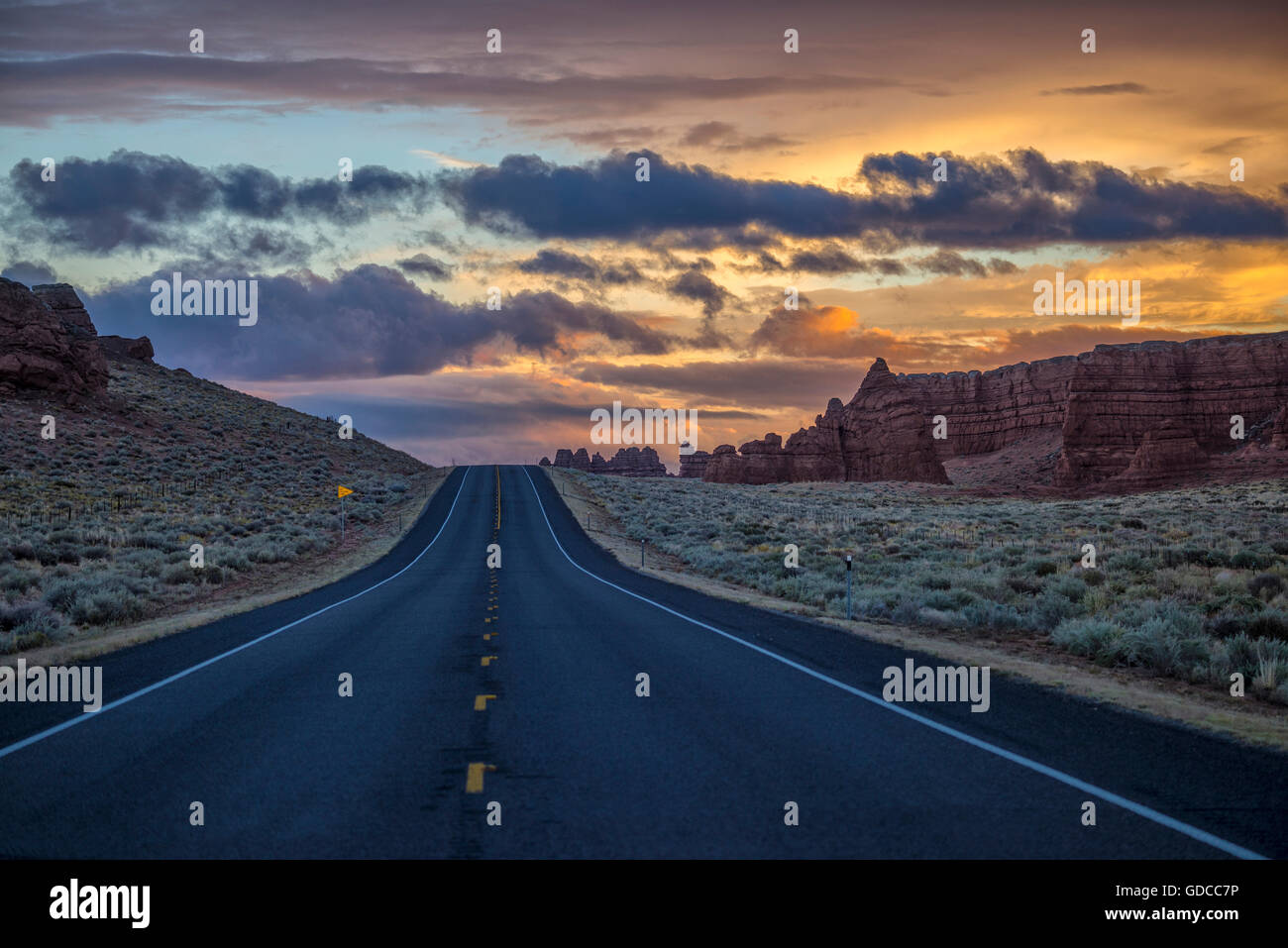 Utah Highway Nightscape - Stock Image