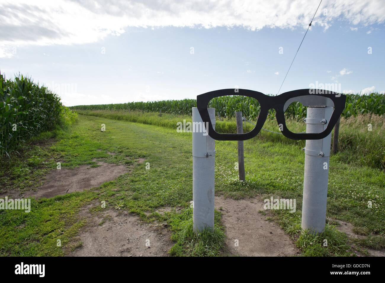 The site of the airplane crash that killed Buddy Holly, The Big Bopper, and Richie Valens in 1959 near Clear Lake, - Stock Image
