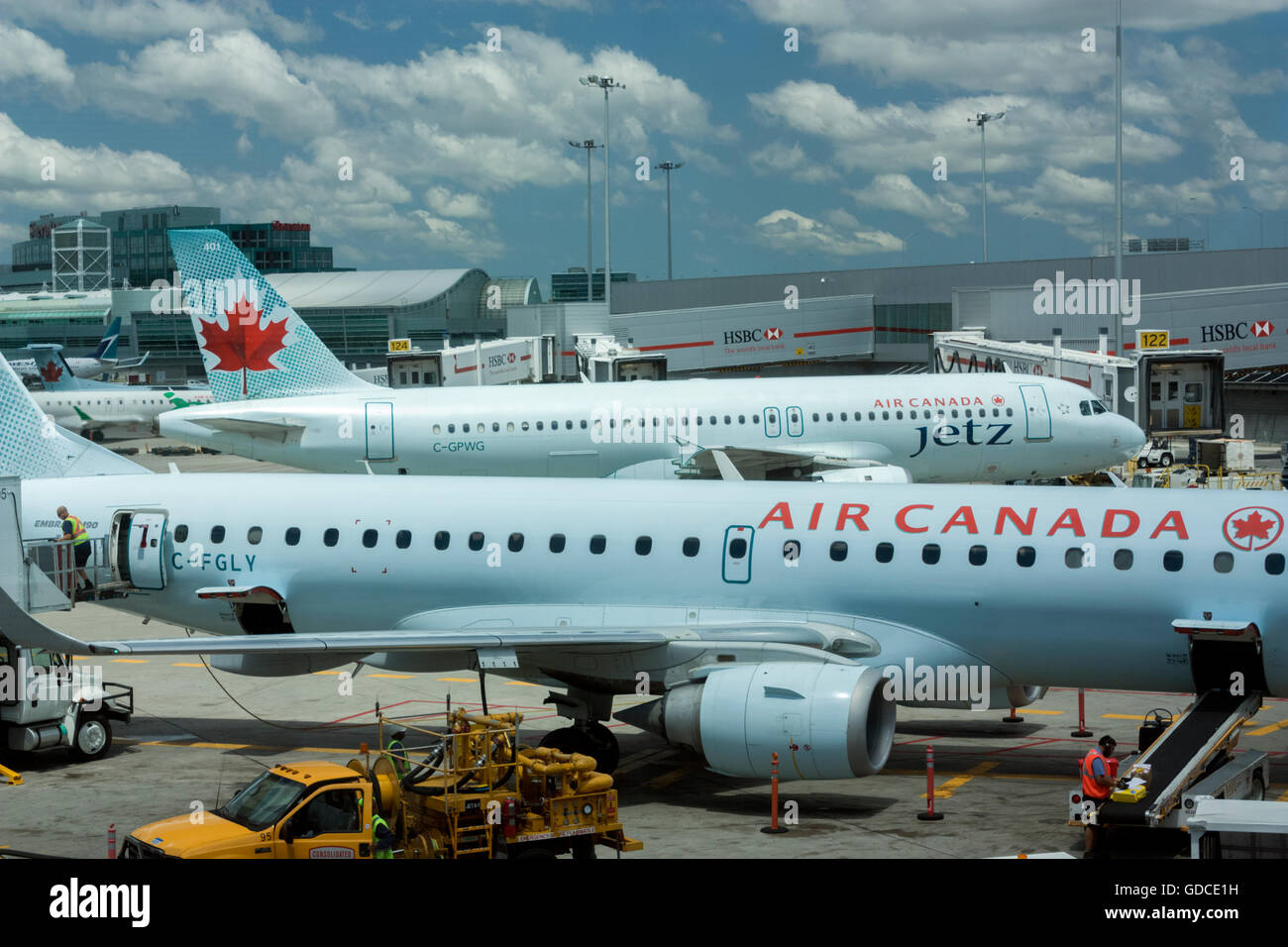 Air Canada jets at Toronto Pearson International Airport - Stock Image