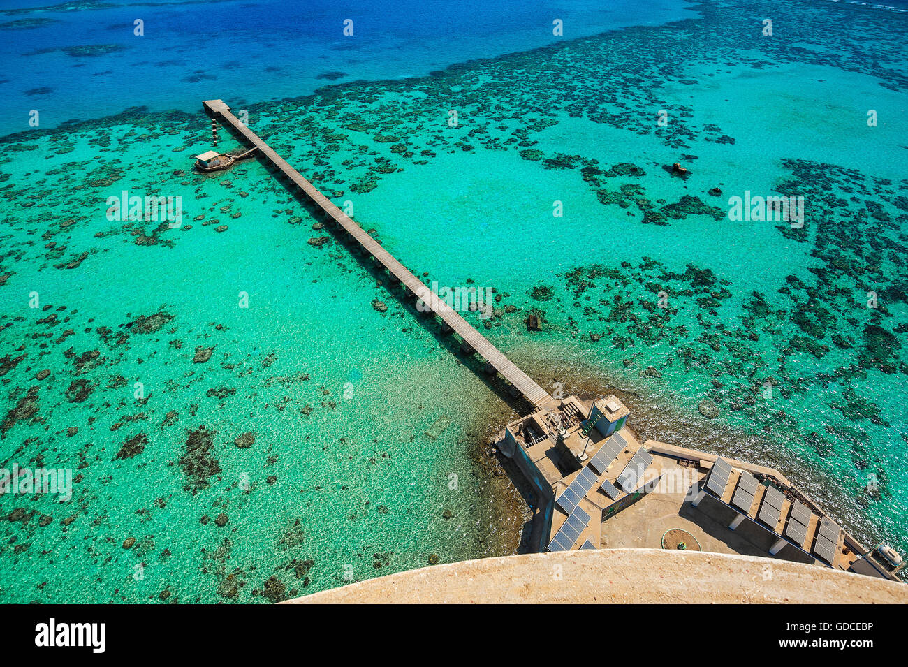 View from the lighthouse to the Sanganeb Atoll with jetty, marine reserve Bur Sudan, UNESCO World Heritage Site, - Stock Image