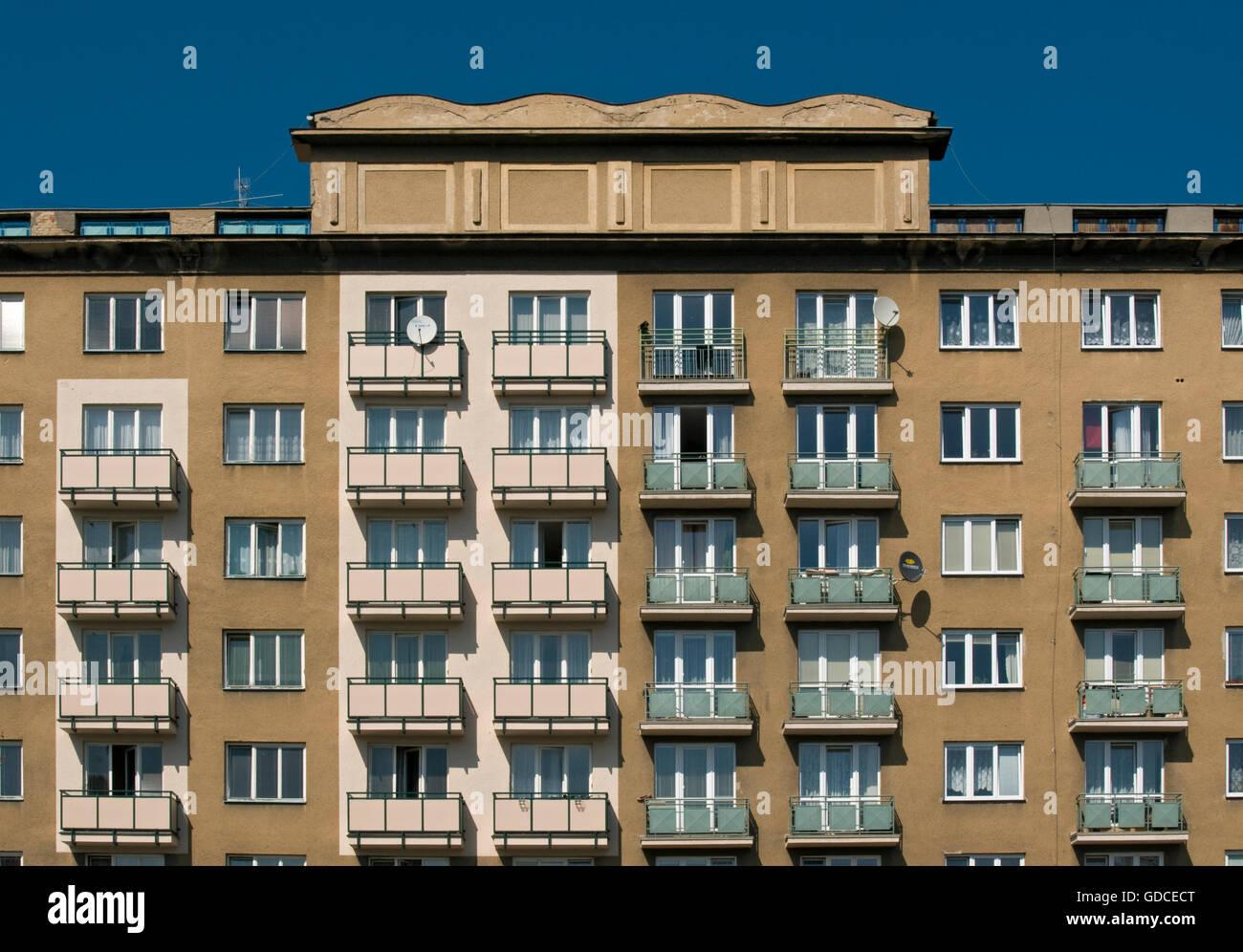 Apartment building, socialist realism style in 1950s, Hlavni trida, Poruba district of Ostrava, Czech Republic, - Stock Image