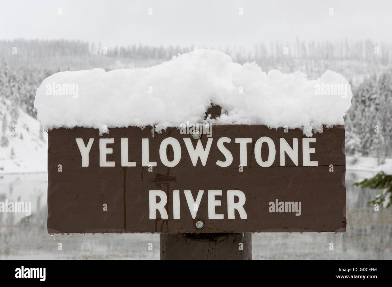 Yellowstone River Sign Snow Yellowstone National Park