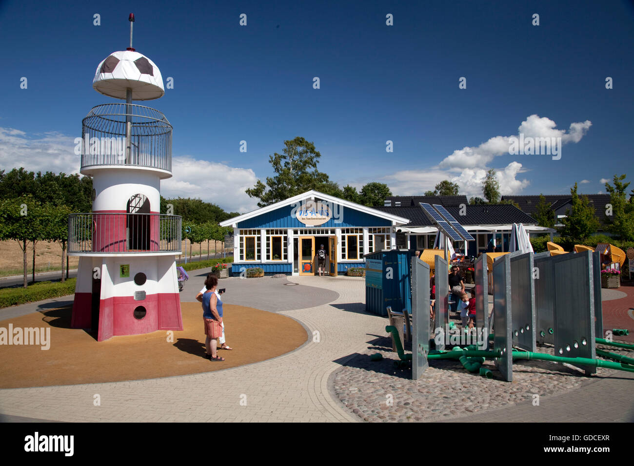 Playground, Vis-A-vis family restaurant, Baltic Sea spa of Zingst, Fischland Darss Zingst peninsula - Stock Image