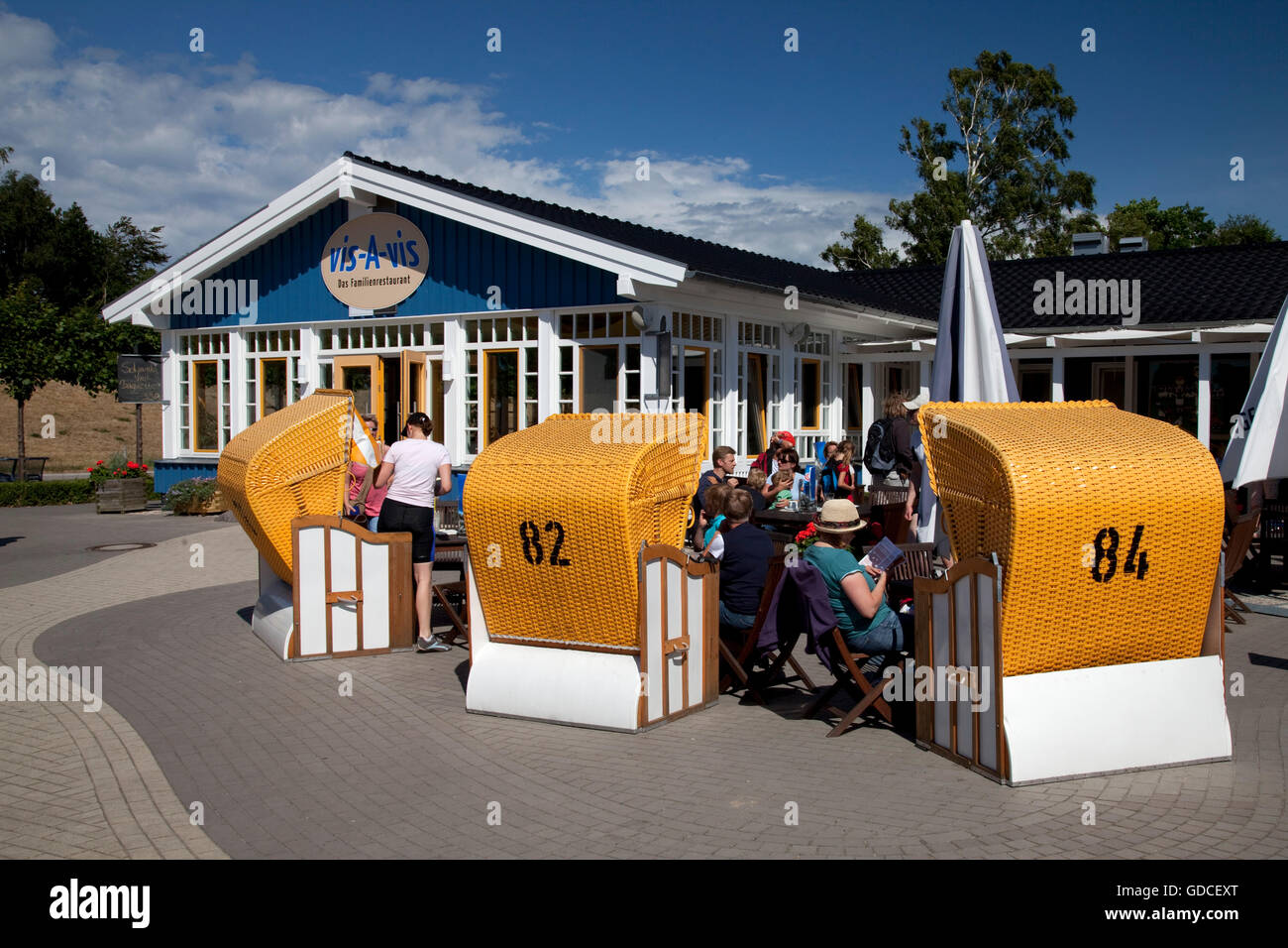 Vis-A-vis family restaurant, Baltic Sea spa of Zingst, Fischland Darss Zingst peninsula, Mecklenburg-Western Pomerania - Stock Image