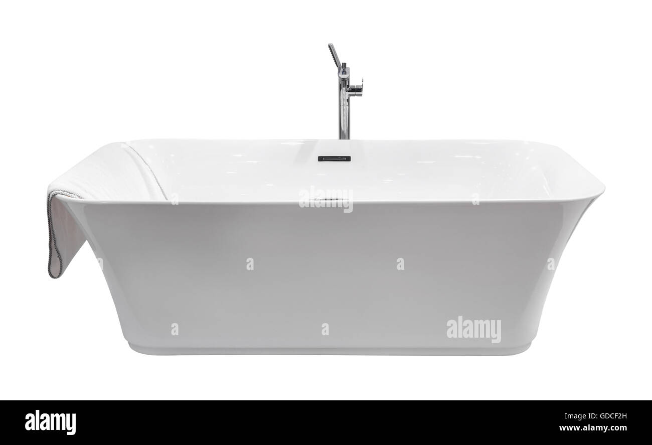 White modern bath isolated - Stock Image