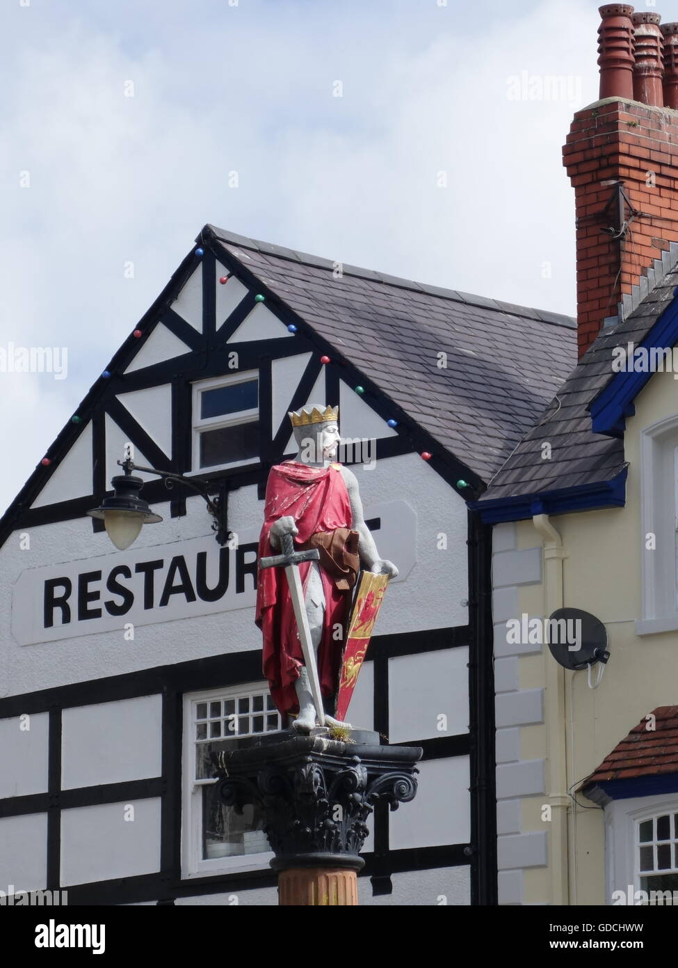 King Arthur statue in the medieval town of Conwy, Wales, - Stock Image