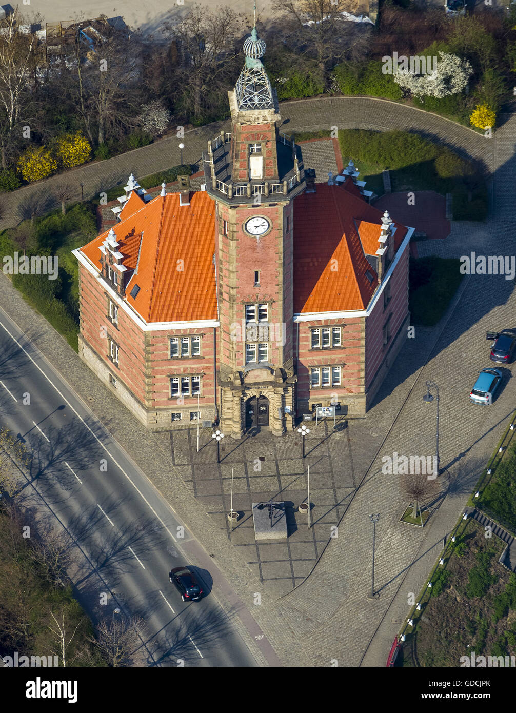 Aerial, Old Port Authority Dortmund, Dortmund habour, Dortmund, Ruhr area, North Rhine-westphalia, Germany, Europe, - Stock Image