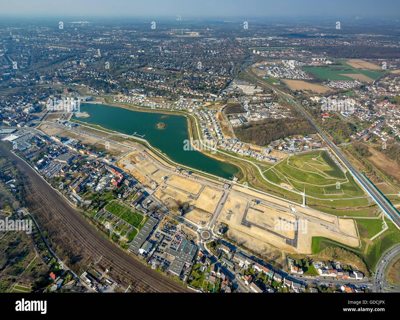 Aerial view, Phoenix Lake Dortmund with adjoining building, Dortmund, Ruhr aeria, north rhine-westphalia, Germany, Stock Photo