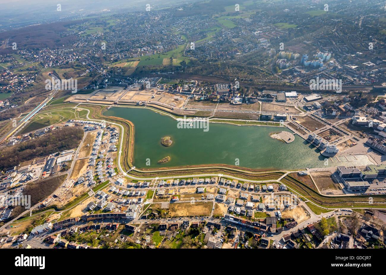 Aerial view, Phoenix Lake Dortmund with adjoining building, Dortmund, Ruhr aeria, north rhine-westphalia, Germany, - Stock Image