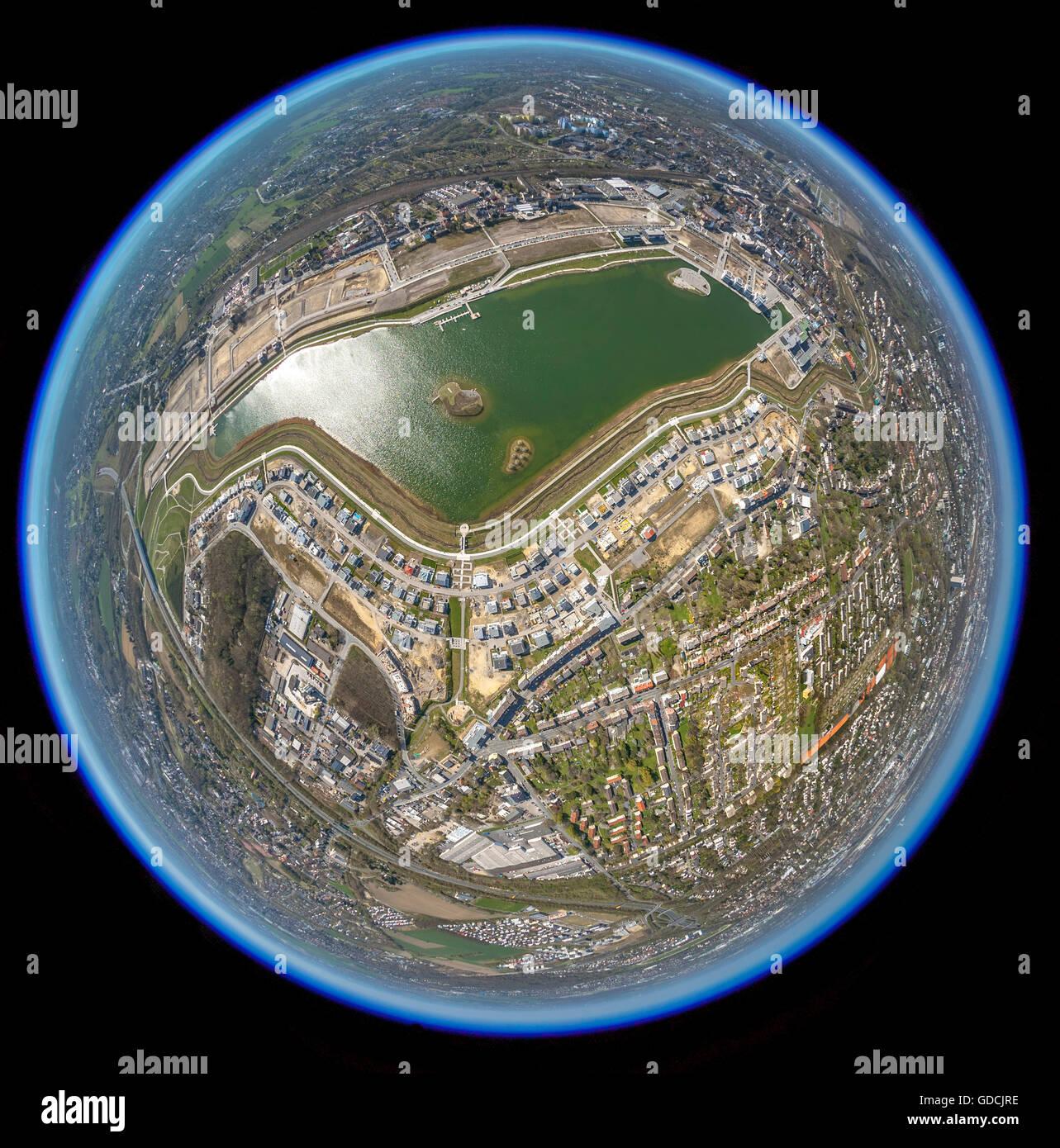 Aerial view, Phoenix Lake, Phoenix Lake Dortmund as fisheye image, fisheye, former steelfactory, Dortmund, Ruhr - Stock Image