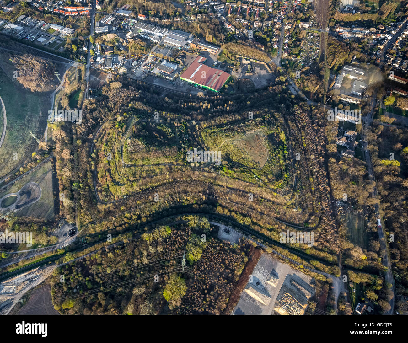 Aerial view, dump in form of spectacle glases, Brauck, Gladbeck, Ruhr area, North Rhine-westphalia, Germany, Europe, - Stock Image