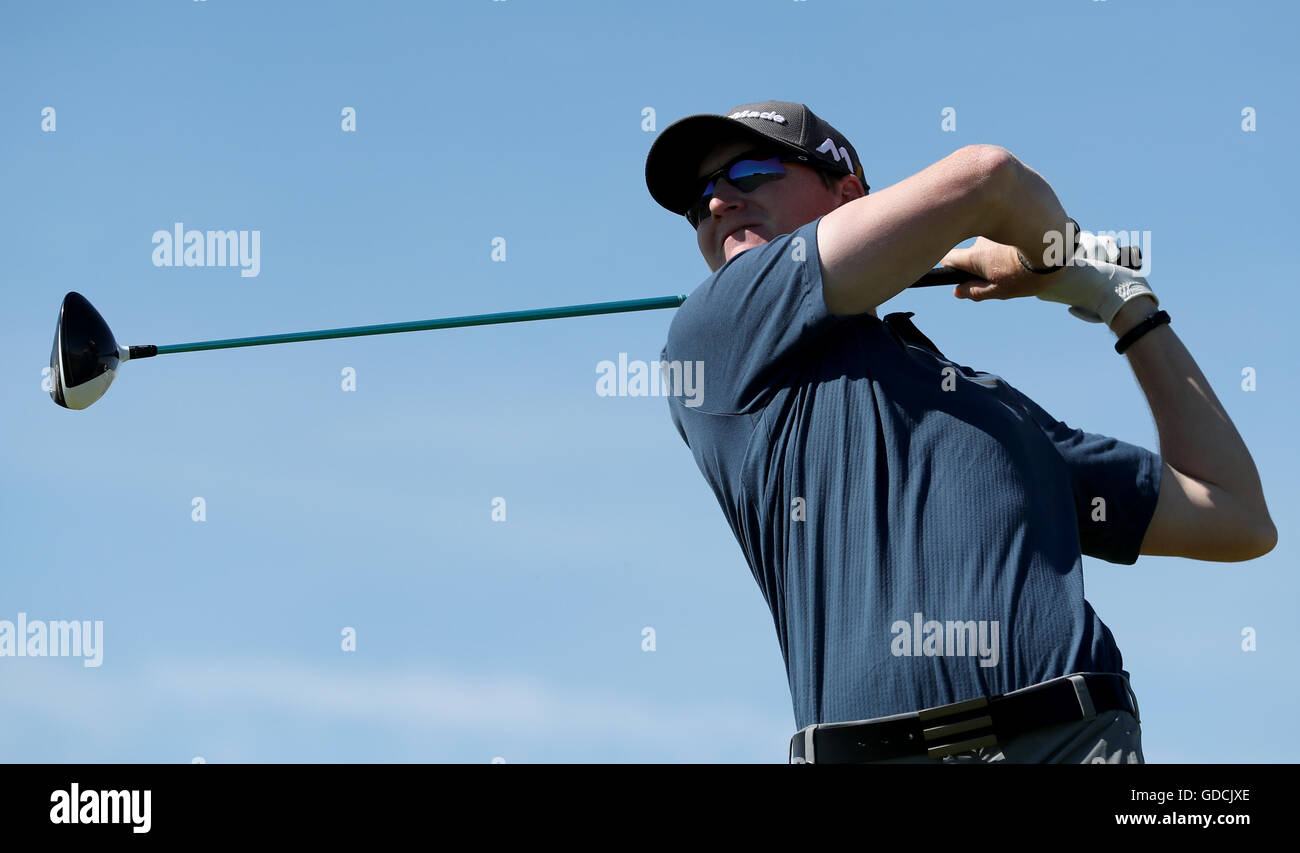 USA's Jordan Niebrugge tees off on the third hole during day one of The Open Championship 2016 at Royal Troon - Stock Image