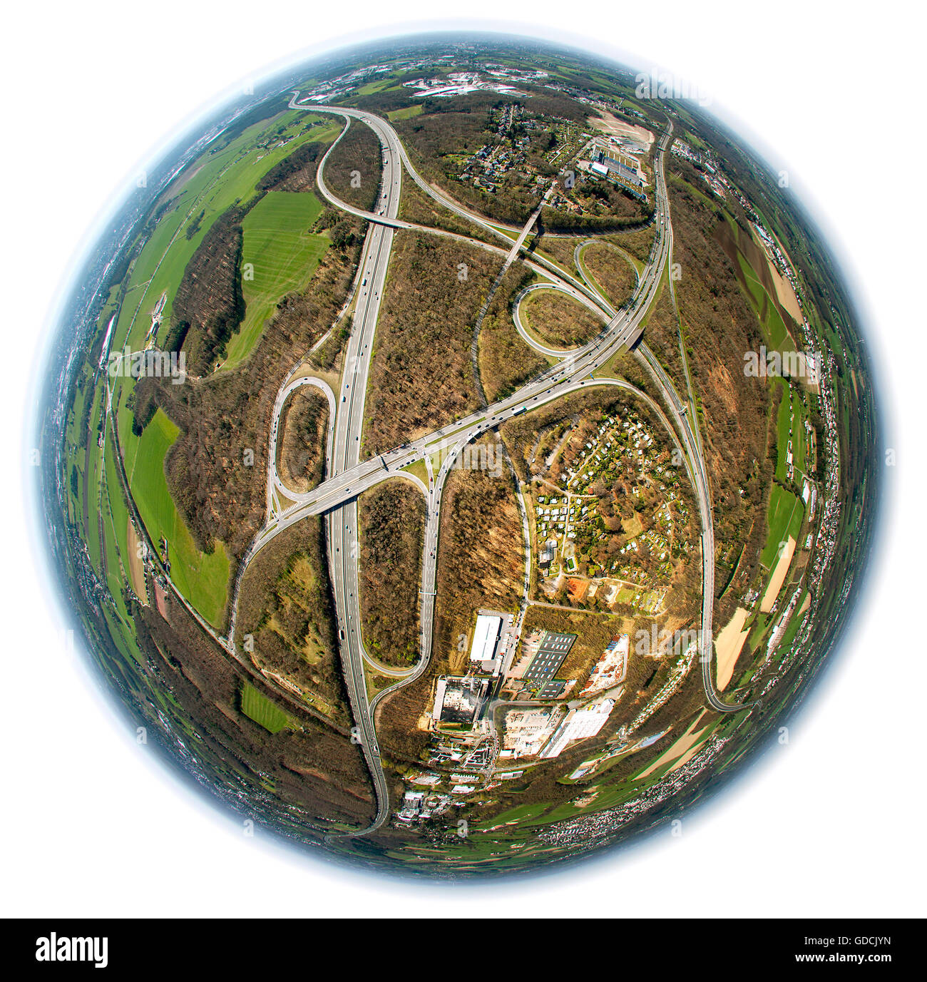 Aerial view, motorway junction A1 A43 A46 at Sprockhövel Haßlinghausen, Aerial view, fisheye image, Ruhr - Stock Image