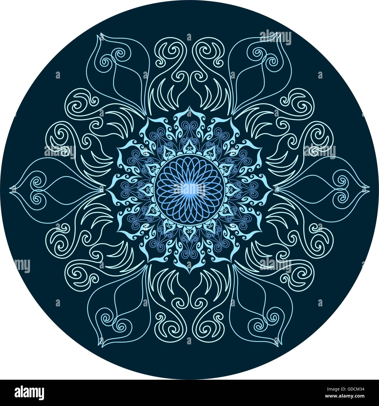 Floral design. Mandala ornament. Lace pattern. - Stock Image