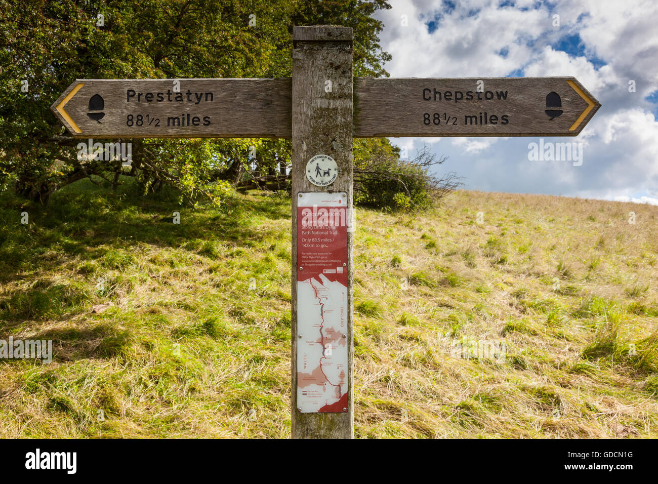 Halfway along the Offa's Dyke National Trail near Newcastle on Clun, Shropshire, England - Stock Image