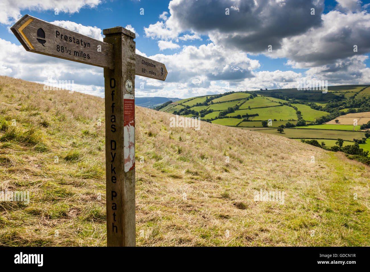 The Clun Valley seen from the halfway along the Offa's Dyke National Trail near Newcastle on Clun, Shropshire, - Stock Image