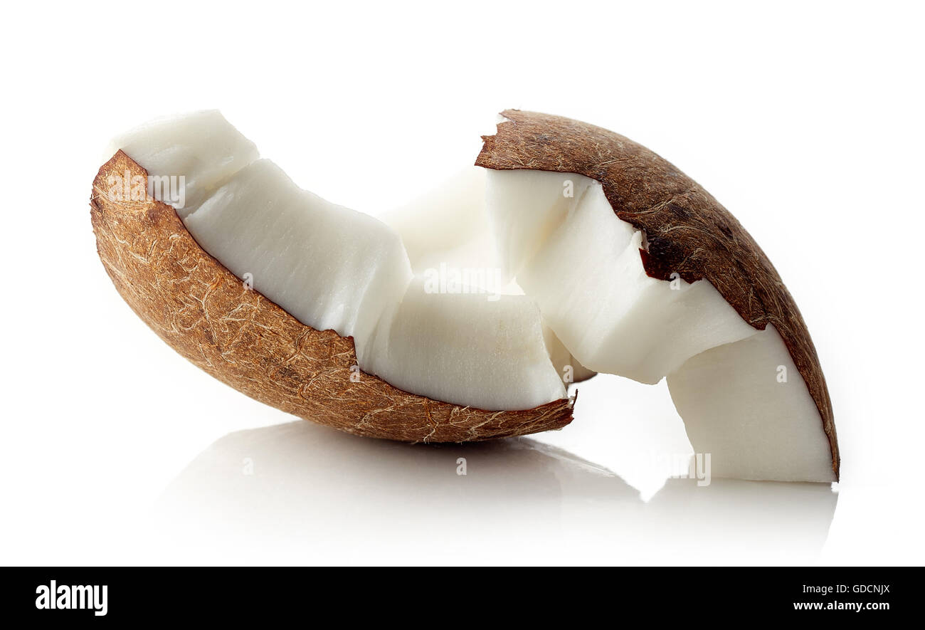 Coconut pieces isolated on white background - Stock Image