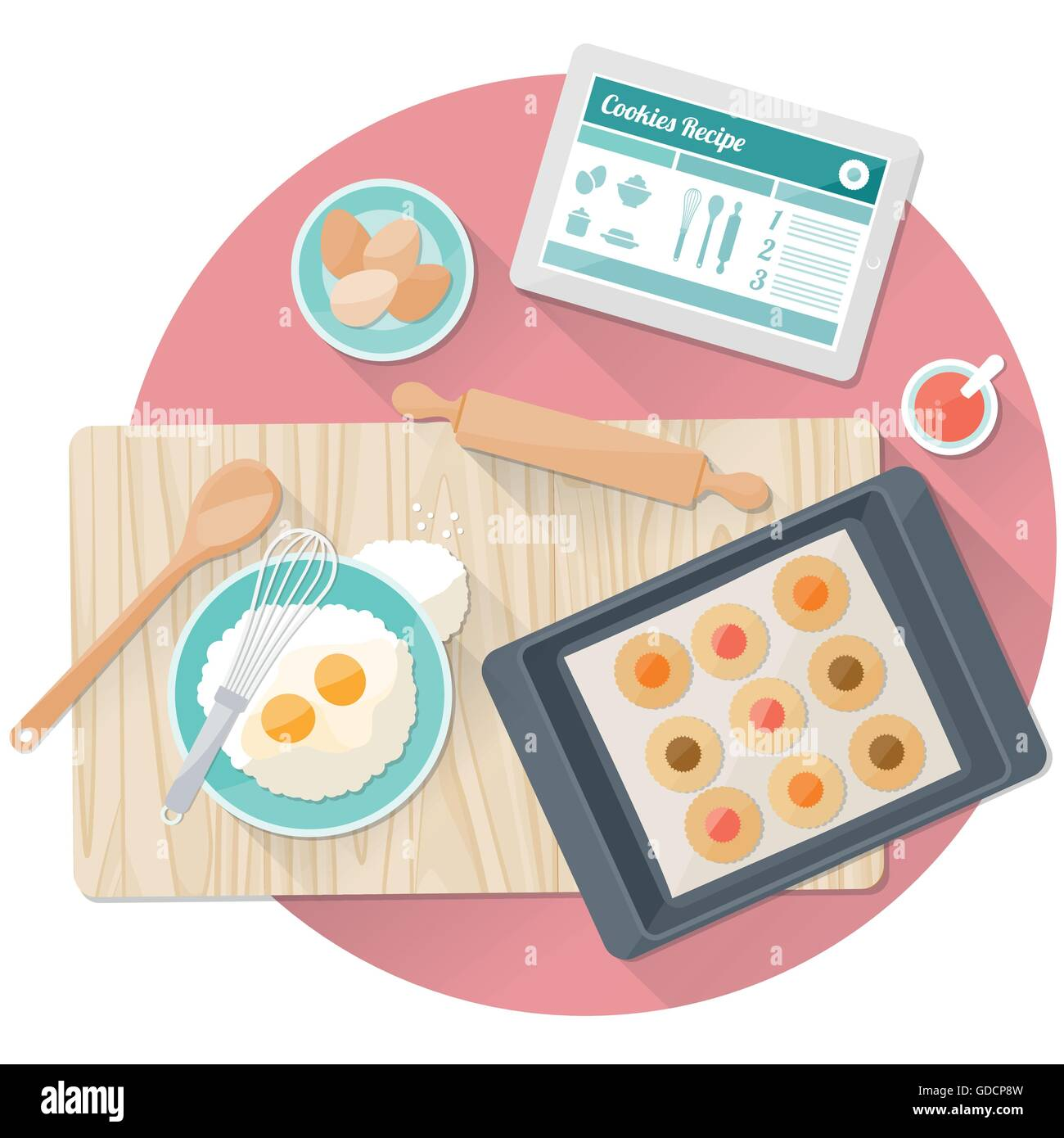 Cooking tasty cookies in the kitchen with utensils and digital tablet - Stock Vector