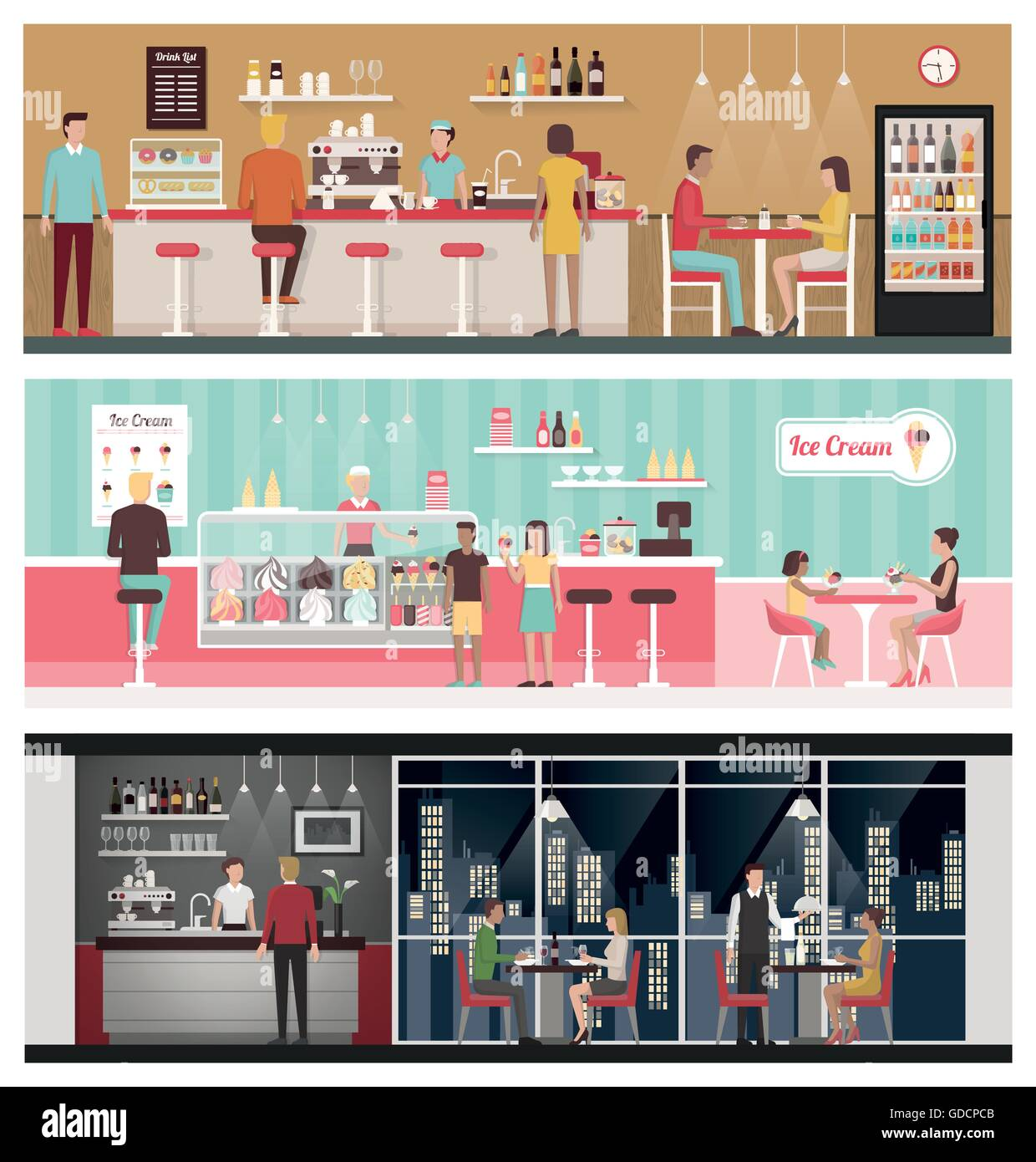People eating and drinking in a bar, in an ice-cream shop and in a luxury restaurant, healthy eating and lifestyle Stock Vector