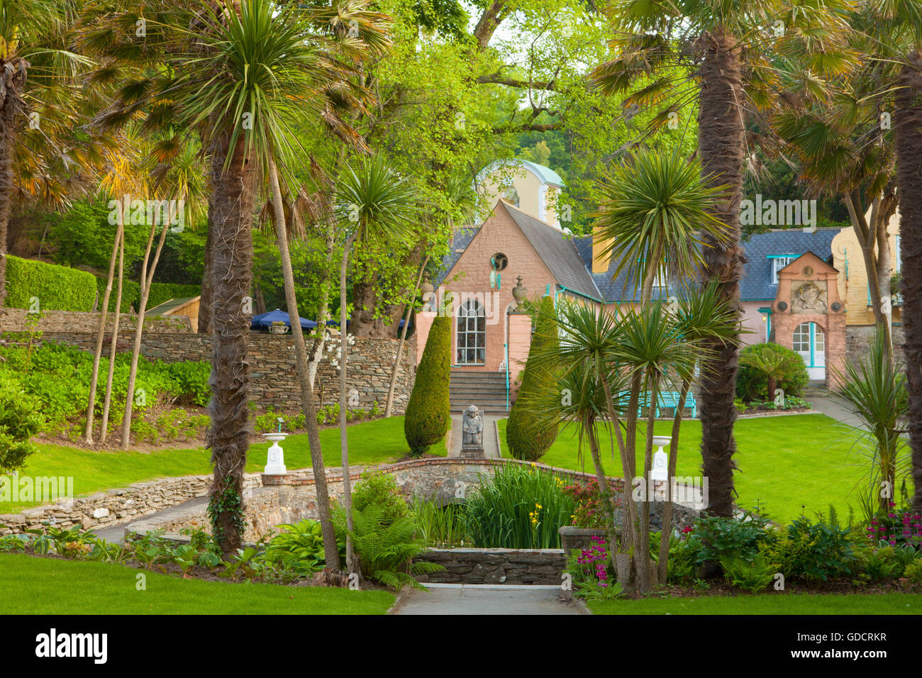 Portmeirion, the fish pond with Salutation building behind. Portmeirion, Gwynedd, North Wales. Stock Photo