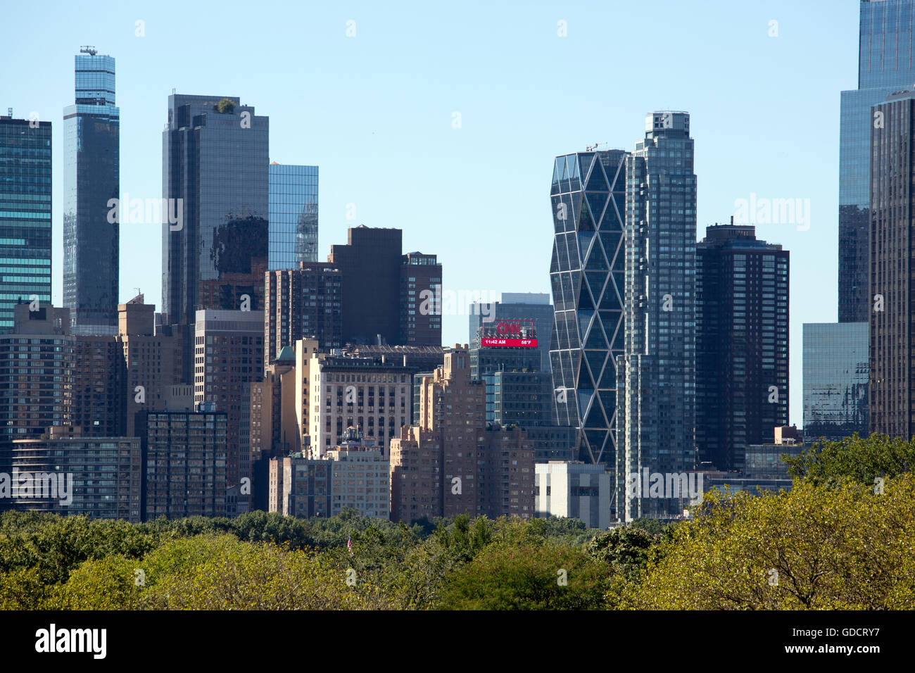 New York City buildings and central park trees view from a roof - Stock Image