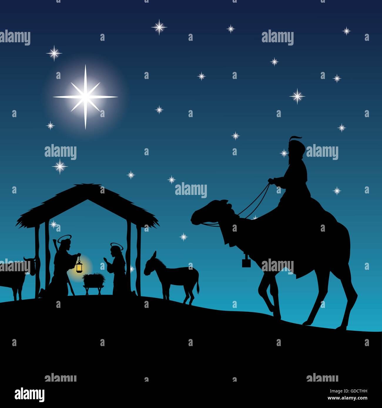Joseph, maria and jesus icon. Merry Christmas design. Vector gra ...