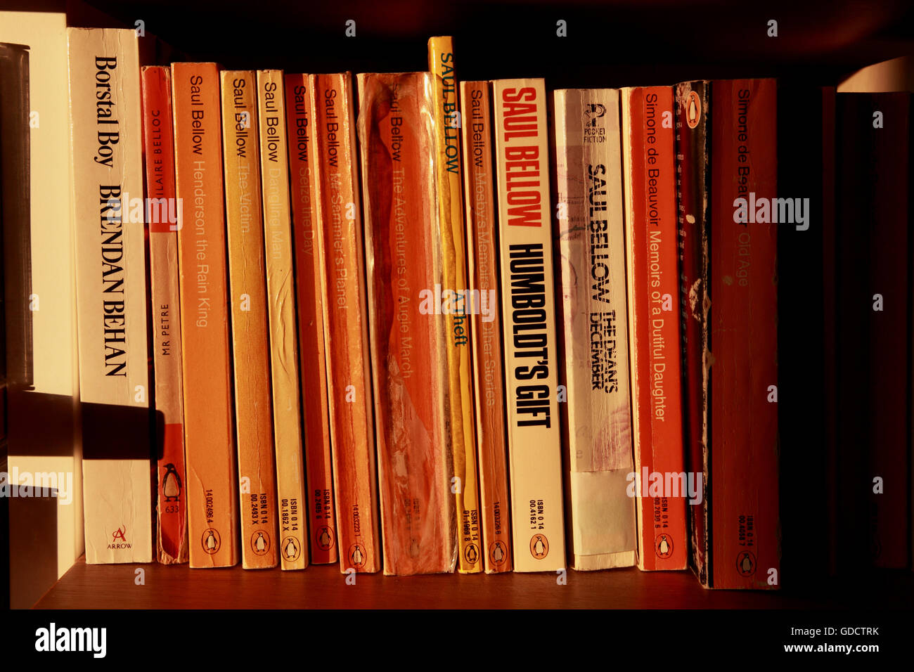 Old paperback books, mainly Penguins, on a bookshelf - Stock Image