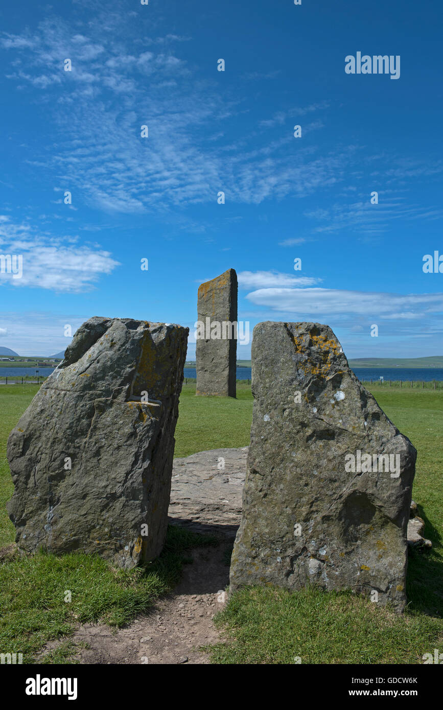 Stenness Standing Stones within the UNESCO World Heritage Site, Heart of Neolithic Orkney.  SCO 10,713 Stock Photo