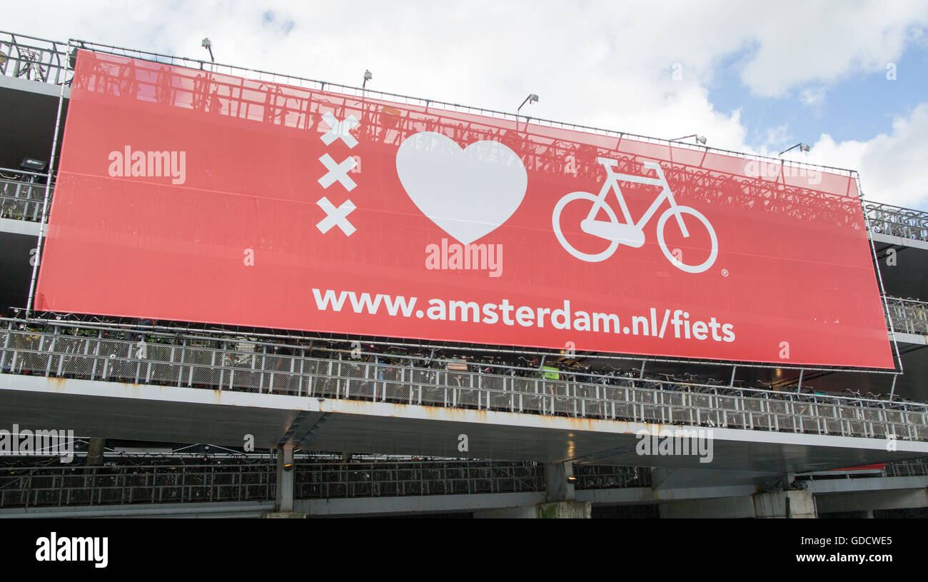 Bicycle Park Amsterdam Main Station Holland - Stock Image
