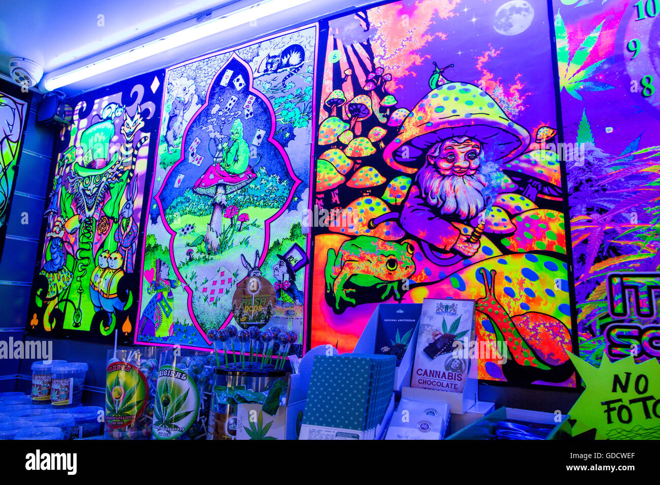 Psychedelic Colours in A Recreational Drug Shop Amsterdam Holland - Stock Image