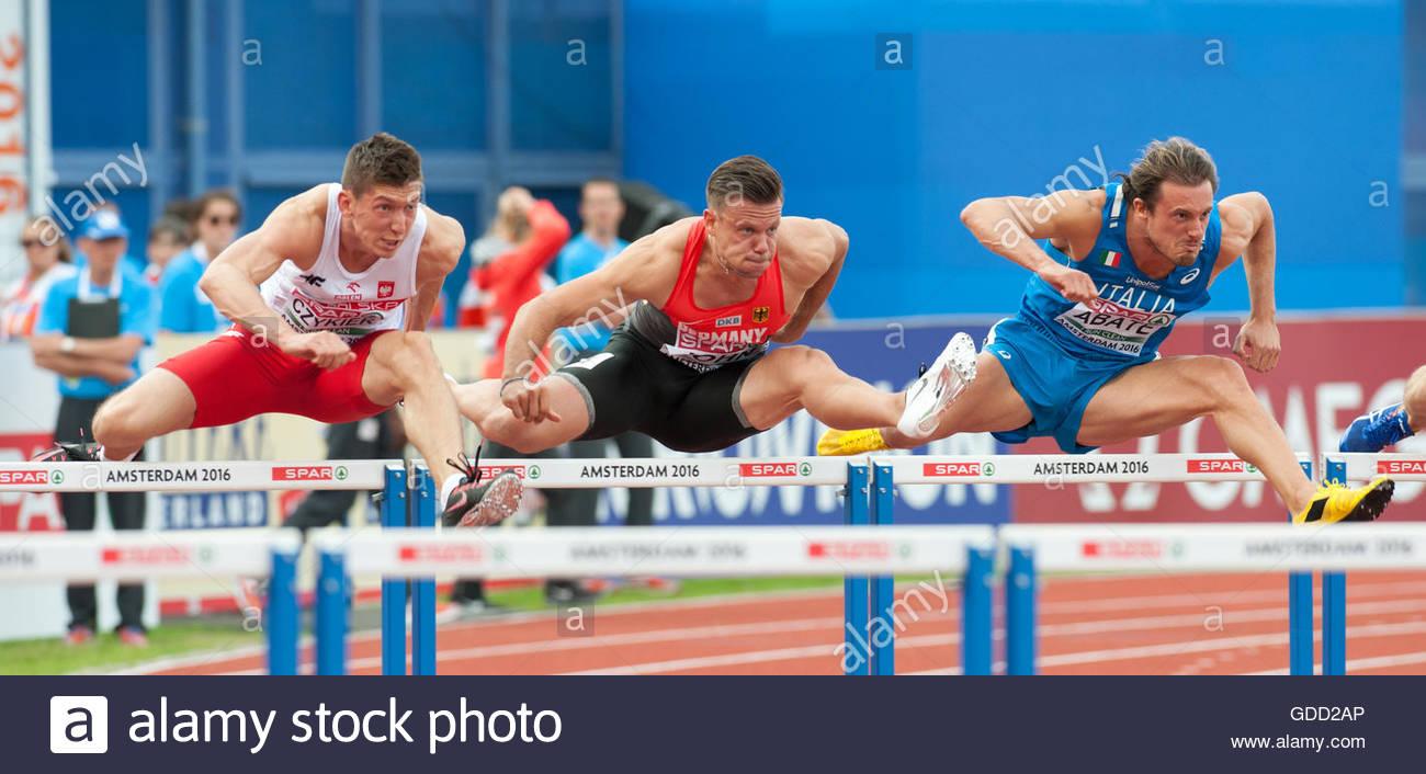 Amsterdam The Netherlands 8th July 2016 European Athletics Championships in Amsterdam. Mens hurdles semi final. - Stock Image