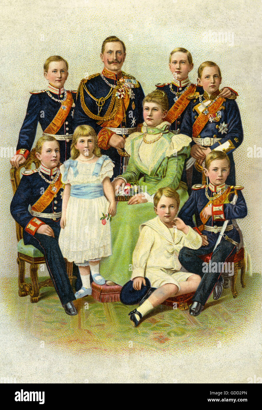 """Emperor William II (1859-1941), Empress Auguste Victoria (1858 until 1921). with her seven children, lithograph entitled: """"Our Imperial House"""", Crown Prince Frederick William (1882 bis 1951), Prince Adalbert (1884-1948), Prince Joachim (1890 bis 1920), Princess Viktoria-Luise (1892 bis 1980), Prince August William (1887-1949), Prince Eitel Frederick (1883-1942), Prince Oskar (1888 bis 1958), Berlin, Germany, 1899, Stock Photo"""