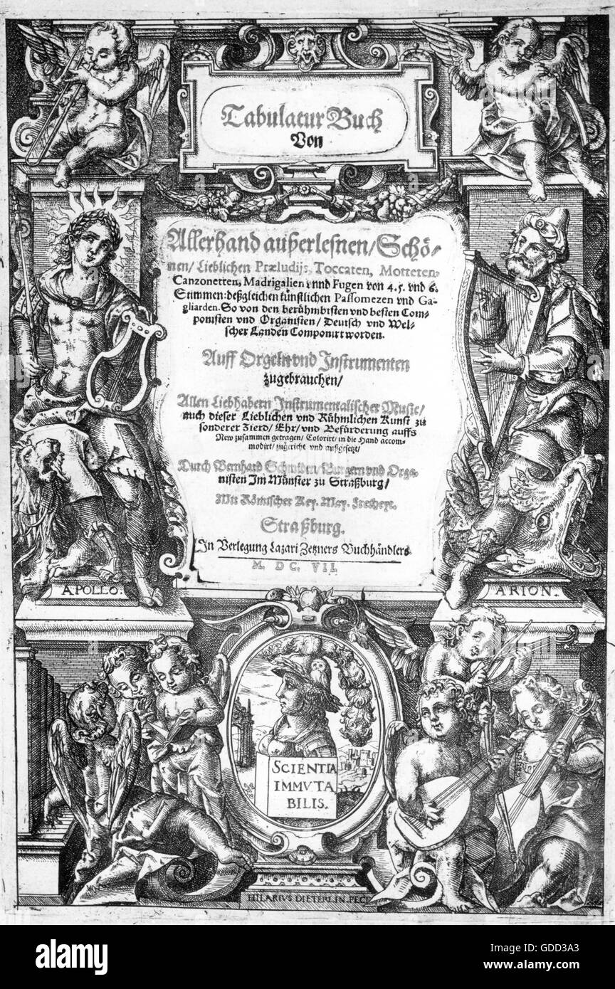 Schmid, Bernhard, the Elder, 1535 - 1592, German organist, works, 'Tabulaturbuch', printed by Lazarus Zetzner, - Stock Image