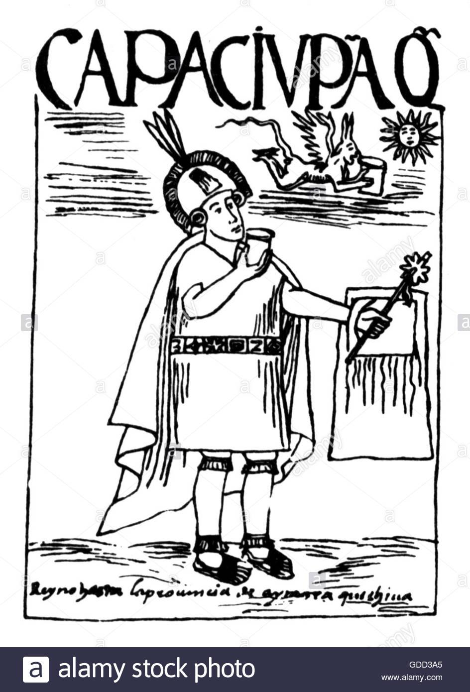 Capac Yupanqui, 5th ruler of the Inca circa 1320, full length, pen drawing, 'El primer nueva coronica y buen - Stock Image