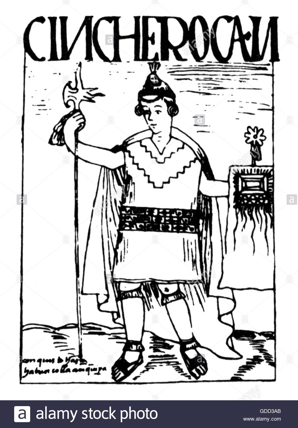 Sinchi Roca, second ruler of the Inca circa 1230, full length, pen drawing, 'El primer nueva coronica y buen - Stock Image