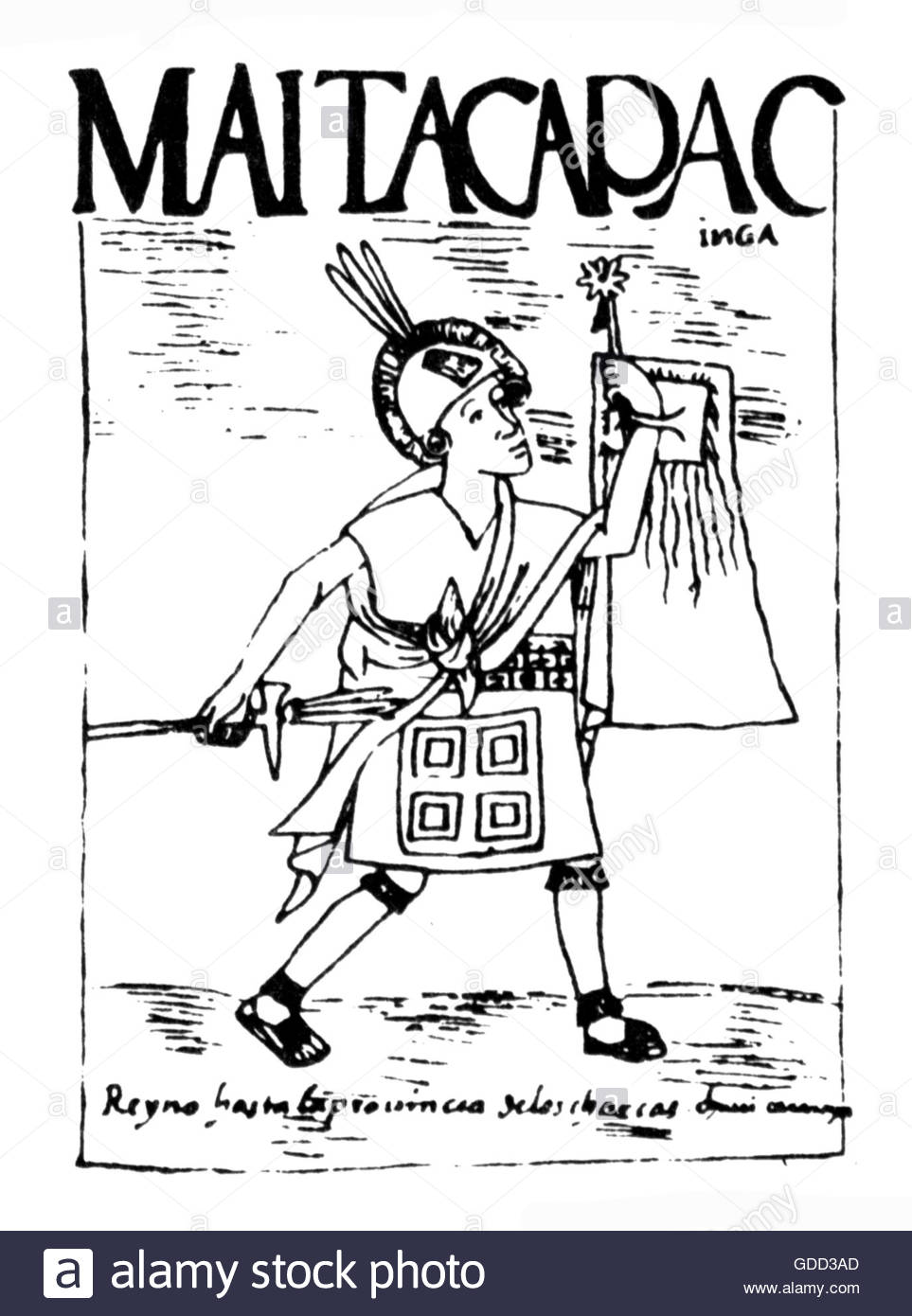 Mayta Capac, 4th ruler of the Inca circa 1290, full length, pen drawing, 'El primer nueva coronica y buen gobierno' - Stock Image