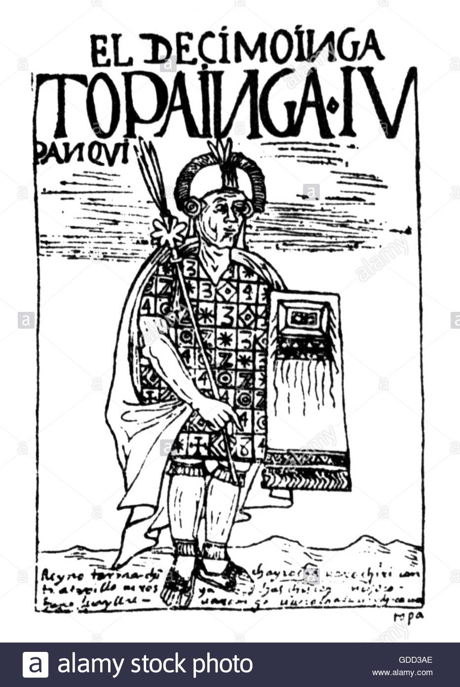 Tupac Yupanqui, + 1493, 10th ruler of Cusco 1471 - 1493, full length, pen drawing, 'El primer nueva coronica - Stock Image