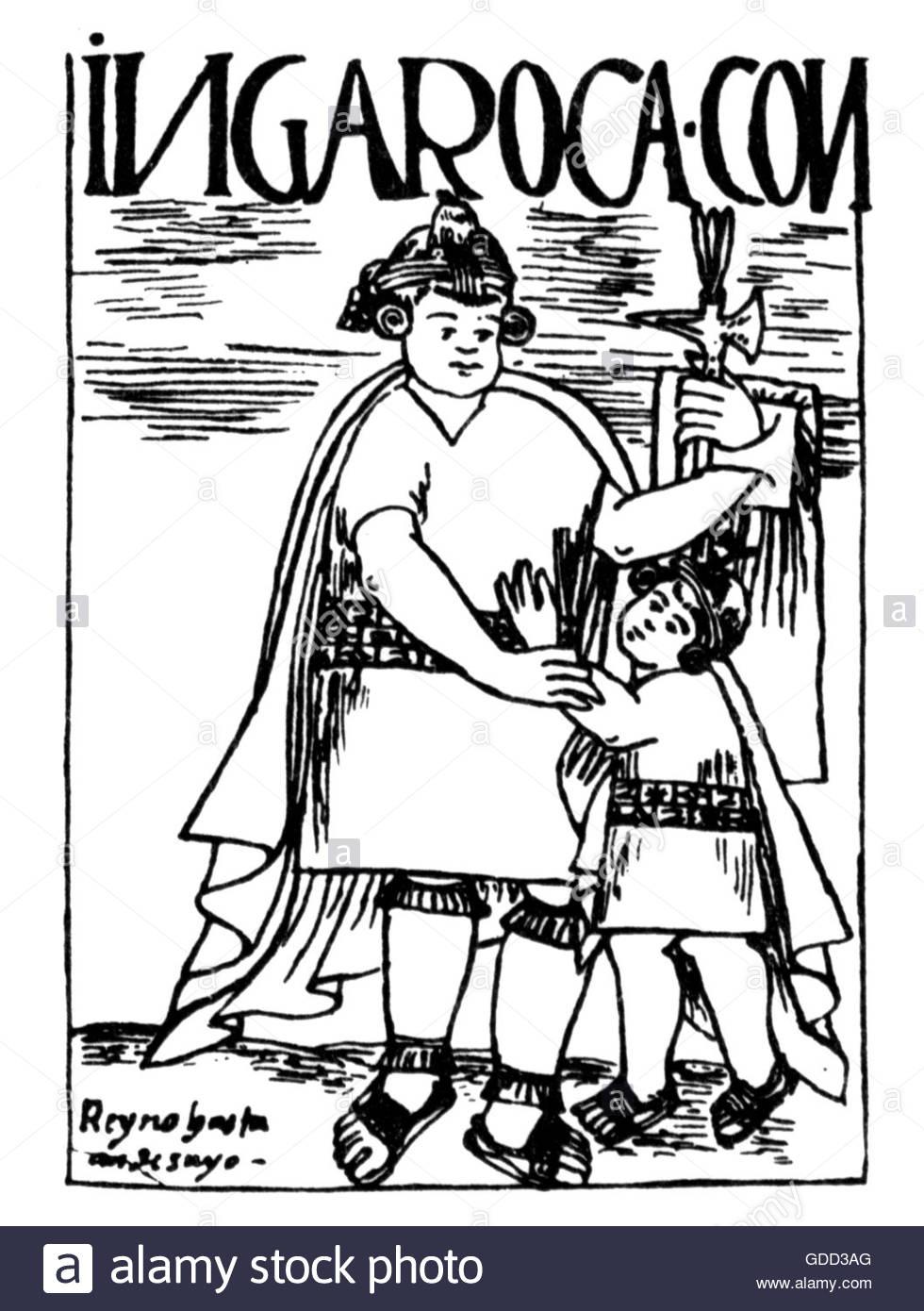 Inca Roca, 6th ruler of the Inca circa 1350, full length, with his son Titu Kusi Wallpa (Yahuar Huacac), pen drawing, - Stock Image