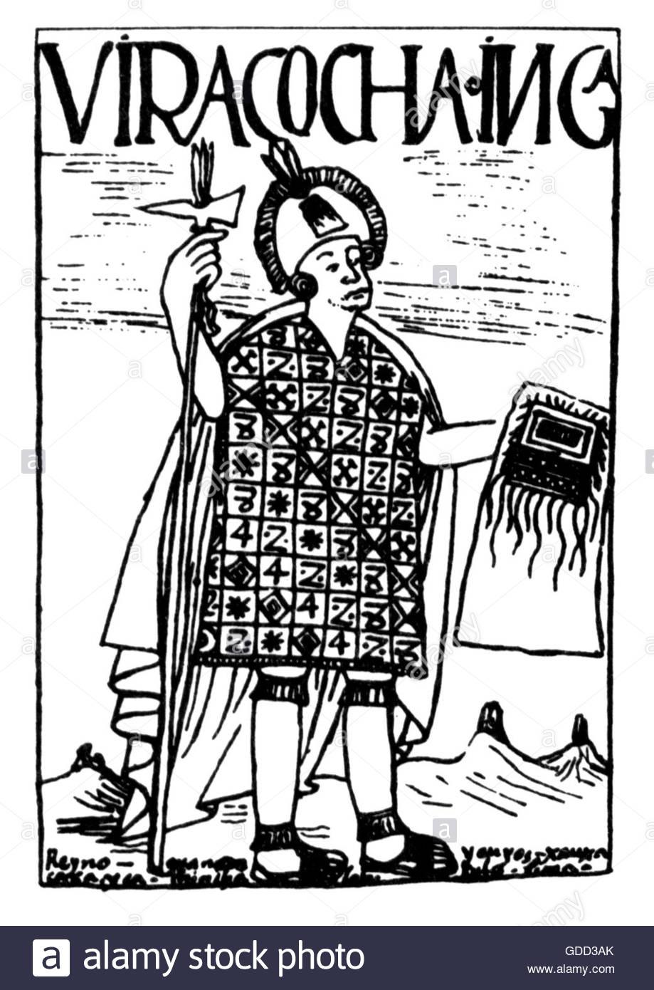 Huiracocha Inca, 8th ruler of the Inca circa 1410, full length, pen drawing, 'El primer nueva coronica y buen - Stock Image