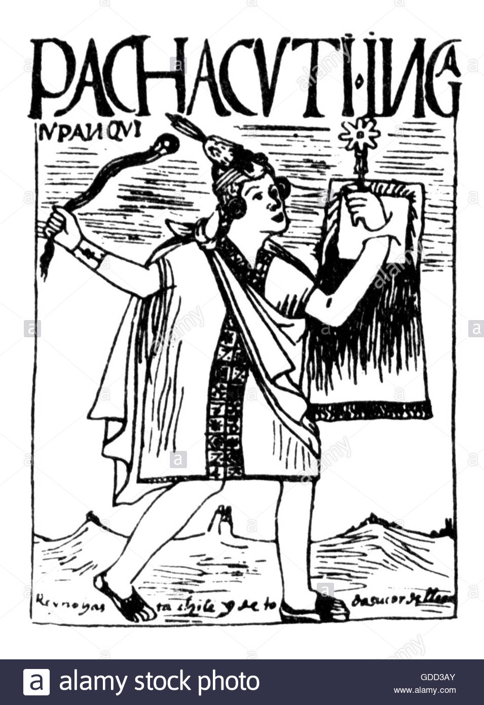 Pachacutec Yupanqui, + 1471, 9th ruler of the Inca 1438 - 1471, full length, pen drawing, 'El primer nueva coronica - Stock Image