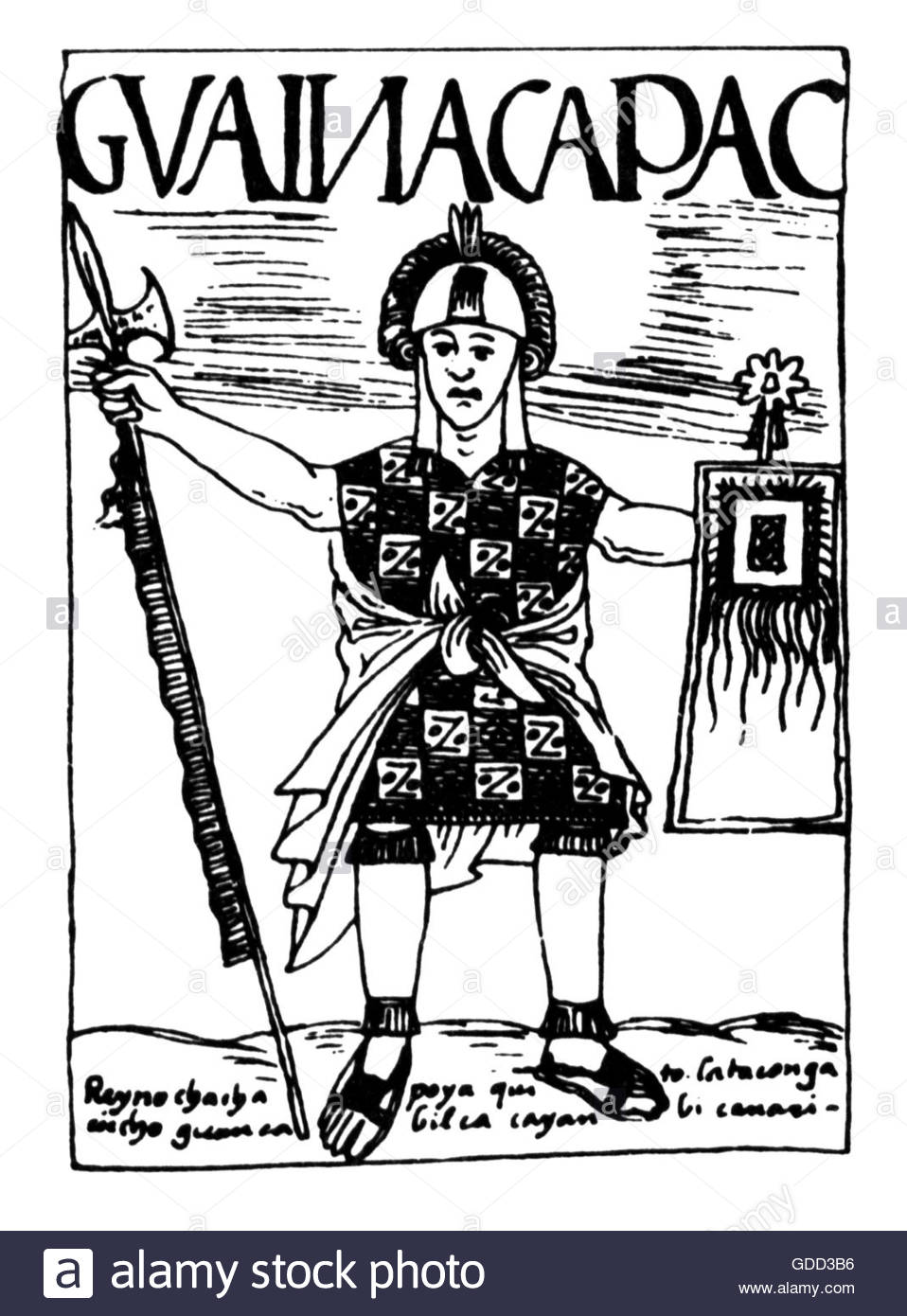 Huayna Capac, circa 1476 - 1527, 11. Herrscher der Inka 1493 - 1527, pen drawing, 'El primer nueva coronica - Stock Image