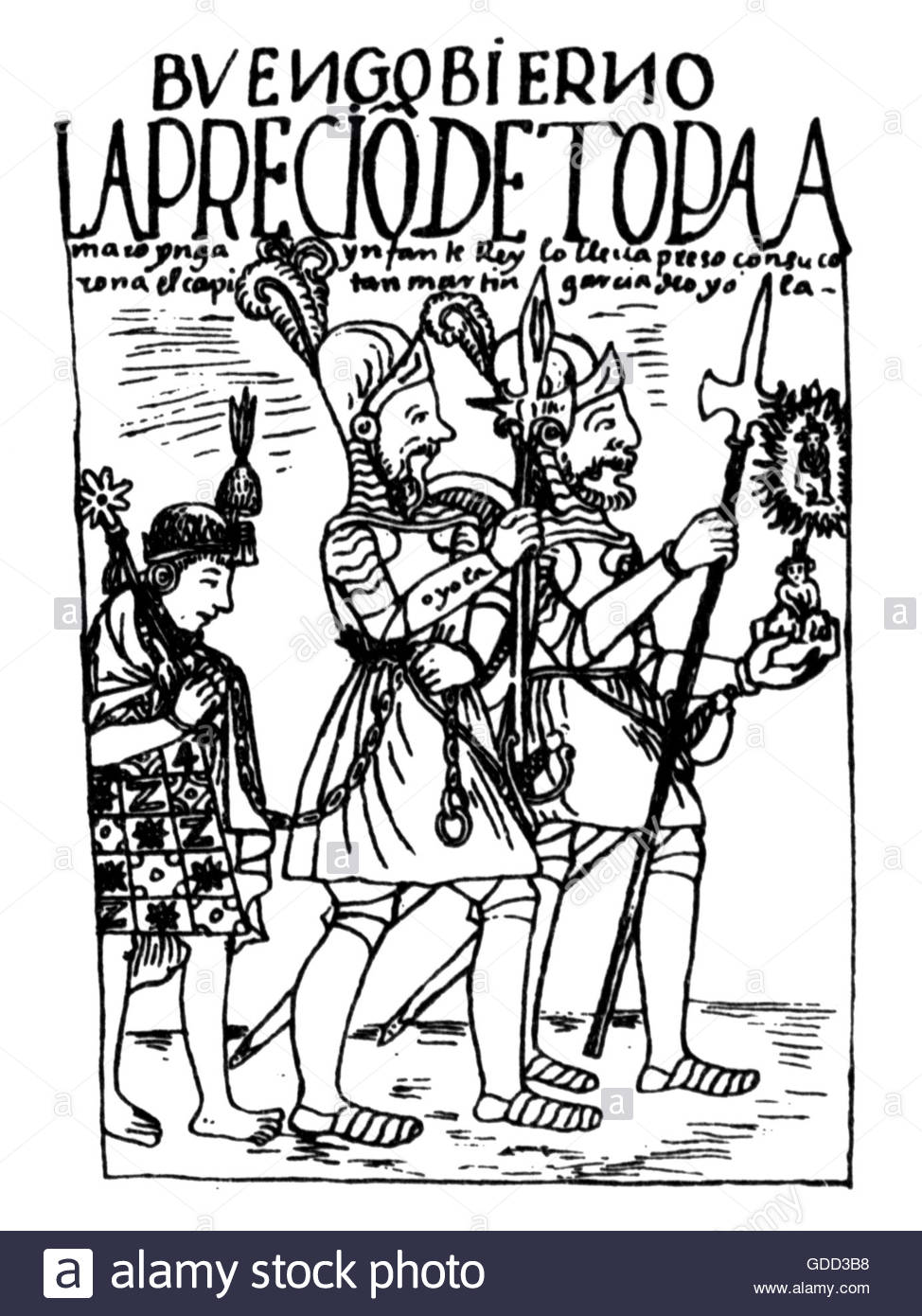 Tupac Amaru, 1545 - 27.9.1572, 18th ruler of the Inca 1570 - 1572, is lead to Cusco as prisoner, 1572, pen drawing, - Stock Image