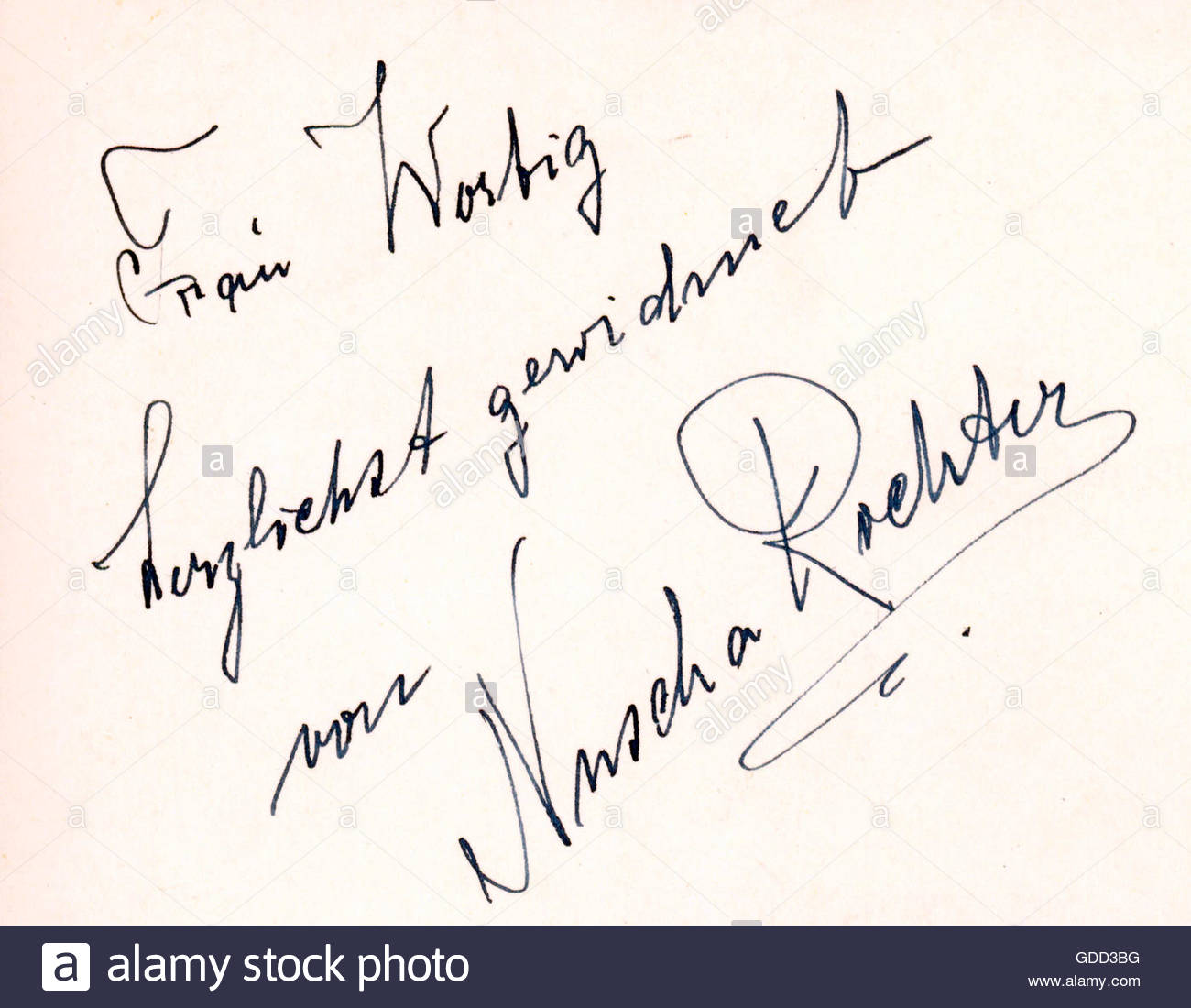 Richter, Nuscha, German actress and singer, autograph, 1950s, Additional-Rights-Clearances-NA - Stock Image