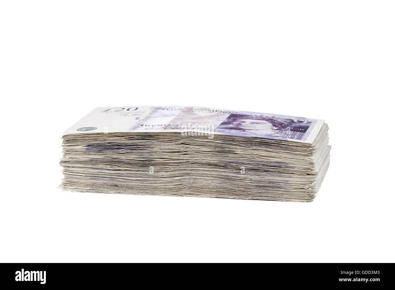 Pile of british 20 pound banknotes - Stock Image