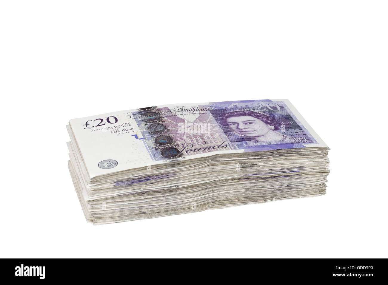 Pile of british 20 pound banknotes Stock Photo